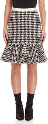 Giambattista Valli Flounce Houndstooth Tweed Skirt