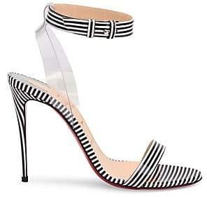417d9bd2948b Christian Louboutin Women s Jonatina 100 Stripe Leather Slingback Sandals