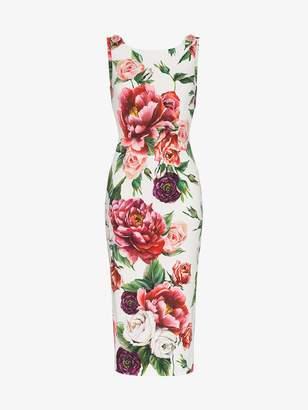 Dolce & Gabbana sleeveless peony print fitted dress