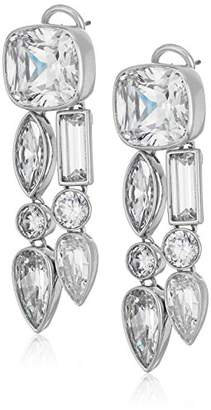 Nicole Miller Mixed Cushion Two Row Rhodium/Clear Drop Earrings