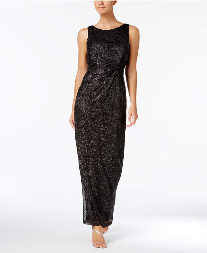 Calvin Klein Gathered Swirl-Pattern Sparkle Gown