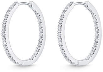 Memoire 18k White Gold Oval Hoop Earrings