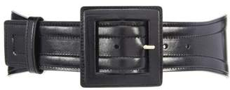 Oscar de la Renta Black Wide Leather Waist Belt