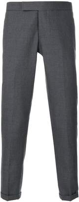 Thom Browne Engineered Striped Side Seam Solid Wool Twill Skinny Trouser