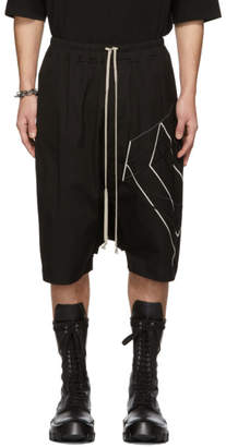 Rick Owens Black Embroidered Ricks Pods Shorts