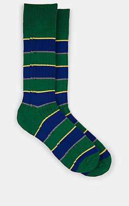 Paul Smith Men's Varsity Striped Cotton-Blend Mid-Calf Socks