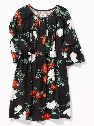 Old Navy Waist-Defined Floral Pintuck Dress for Girls