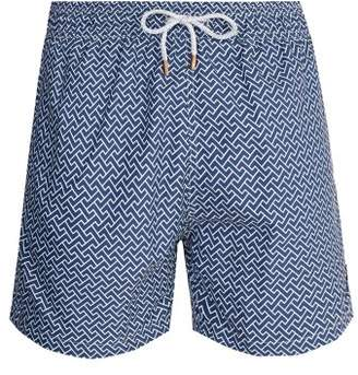 Retromarine - Zigzag Print Swim Shorts - Mens - Navy