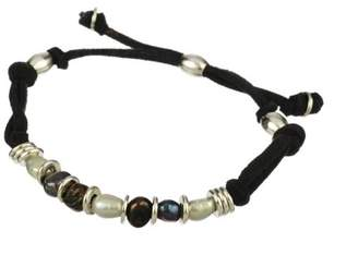 Men's Black Ultra Suede Cord with Baroque Freshwater Cultured Pearl and Silver Tone Accents Adjustable Bracelet