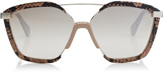 Jimmy Choo LEON Light Gold Metal Frame and Nude Ayers Leather Covered Sunglasses