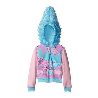 Asstd National Brand Trolls Girls Satin and Chenille Costume Hoodie with Printed Applique Patch and Faux Fur Hood