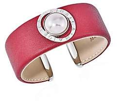 Majorica Women's Stainless Steel, Leather & 14MM White Mabe Man-Made Pearl Cuff