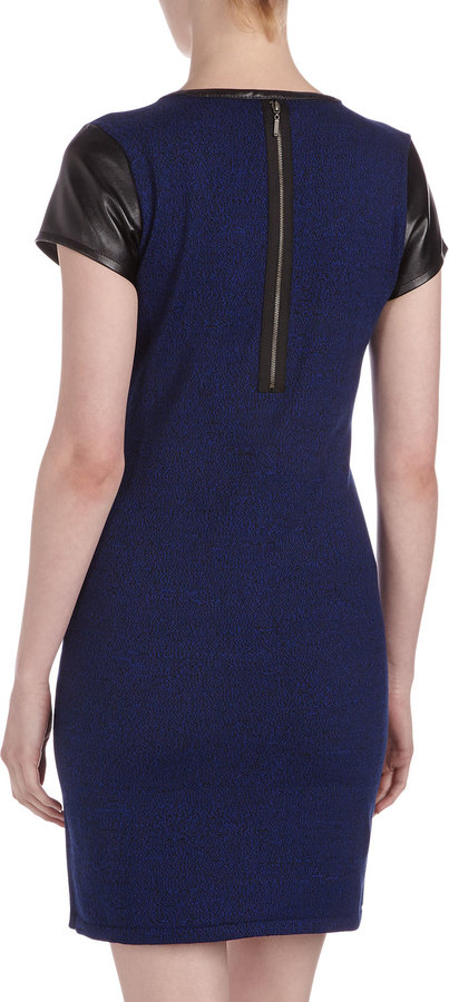 Neiman Marcus Faux-Leather-Trim Knit Dress, Glory Blue/Black
