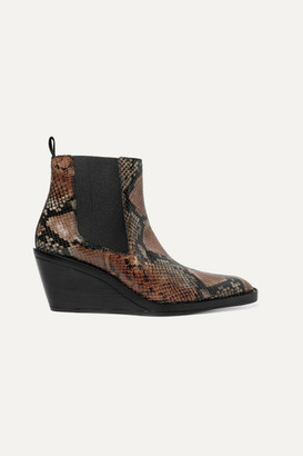 Acne Studios Bleeker Snake-effect Leather Wedge Ankle Boots - Snake print