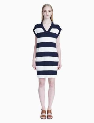 Calvin Klein striped v-neck sleeveless dress