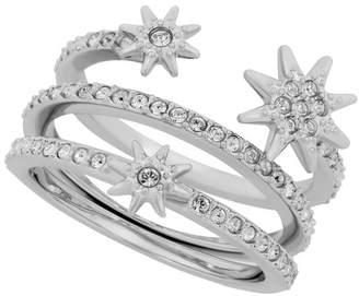 12113171d Swarovski Fizzy Rhodium Plated Pave Crystal Starburst Triple Band Ring -  Size 6