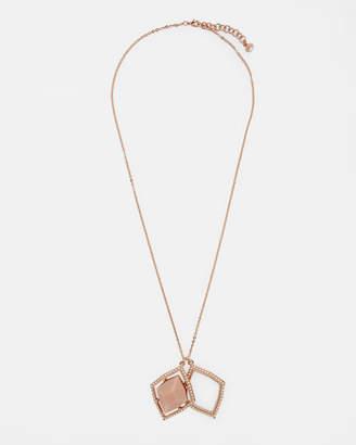Ted Baker RESEDO Regal gem double pendant necklace