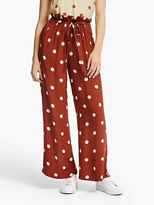 Just Female Caia Polka Dot Trousers, Barn Red