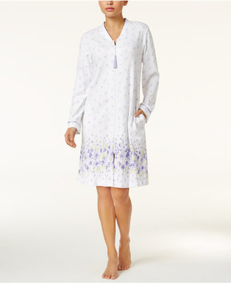Charter Club Border-Print Zip-Front Short Robe, Only at Macy's $68 thestylecure.com