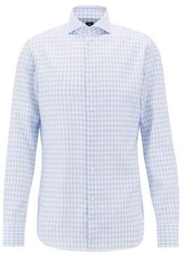 BOSS Hugo  Tailored slim-fit shirt in Glen-check cotton 15 Light Blue