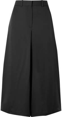 Theory Cropped Silk Wide-leg Pants - Black