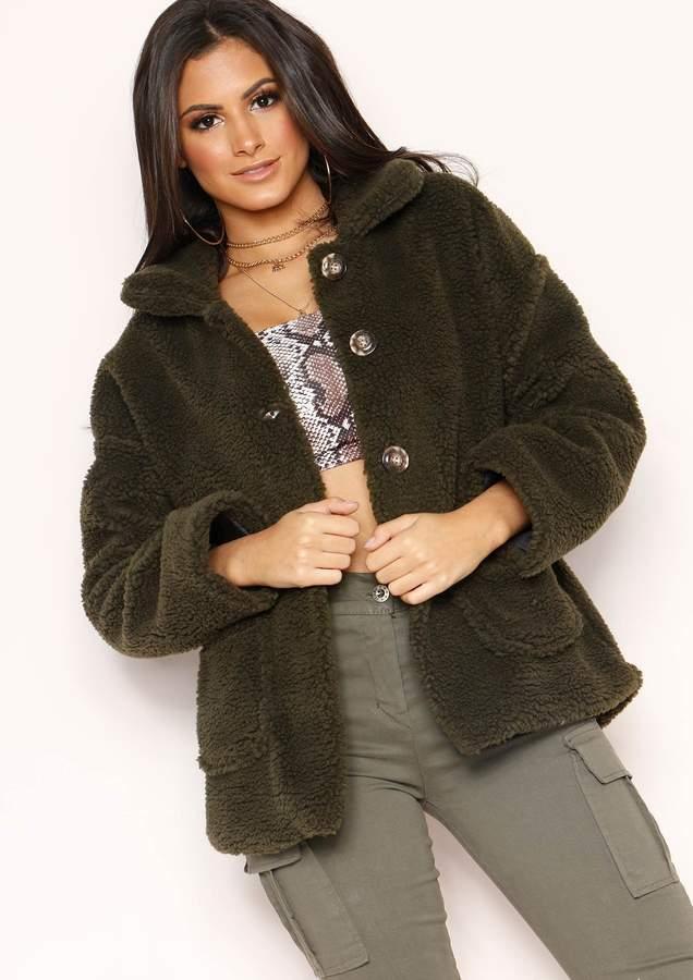 Missyempire Krissy Khaki Button Up Teddy Coat