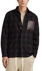 Loewe Men's Logo-Leather-Pocket Plaid Flannel Shirt - Navy
