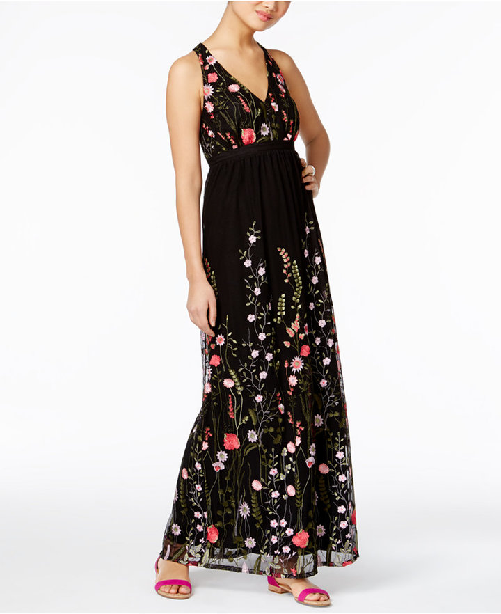 INC International Concepts Embroidered Open-Back Maxi Dress, Only at Macy's