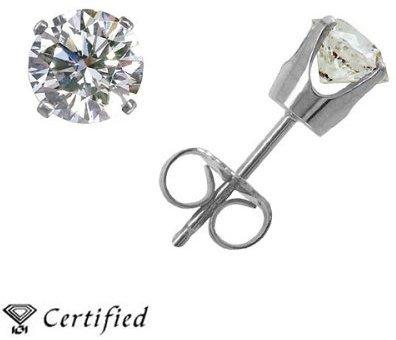 14K White Gold Carat Certified Diamond 4-Prong Stud Earrings