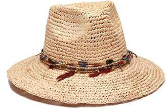 Ale By Alessandra Women's Jurere Crochet Raffia Fedora with Chain and Feather