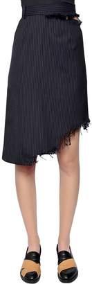 Facetasm Asymmetrical Pinstriped Wool Skirt