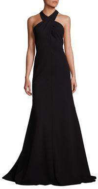 Carmen Marc Valvo Crisscross Halter Dress $895 thestylecure.com