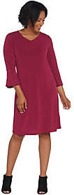 Factory Quacker Stretch Knit Dress w RhinestoneBell-Sleeves