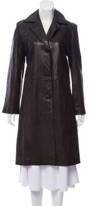 Calvin Klein Collection Leather Knee-Length Coat