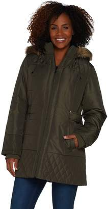 Susan Graver Quilted Puffer Jacket with Faux Fur Trimmed Hood