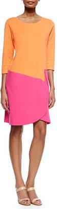 Joan Vass Plus Size 3/4-Sleeve Colorblock Dress, Fuchsia/Coral