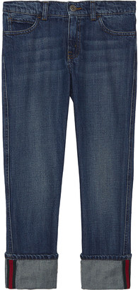 Gucci Web stripe denim jeans 4-12 years $225 thestylecure.com