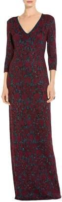 St. John Sparkle Velvet Jacquard Knit Gown
