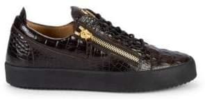 Giuseppe Zanotti Snake-Print Leather Low-Top Sneakers