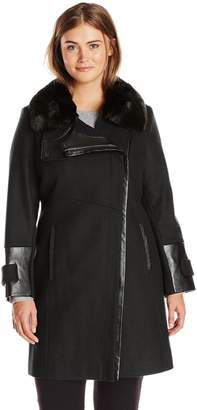 Via Spiga Women's Plus-Size Wool Coat with Faux Fur Collar