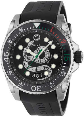 Gucci Men's Dive King Snake Stainless Steel Watch with Rubber Strap