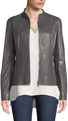 Lafayette 148 New York Sadie Zip-Front Glazed Lightweight Lambskin Leather Jacket
