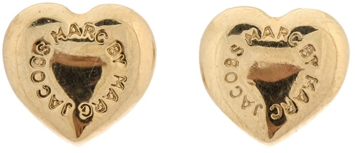 Marc by Marc Jacobs domed logo heart studs