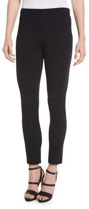St. John Alexa Knit Slim-Leg Ankle Pants, Caviar