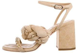 Chanel Chain-Link Suede Sandals