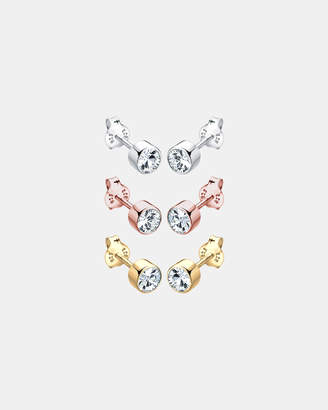 Swarovski Earring Crystals 925 Silver Goldplated Tricolor