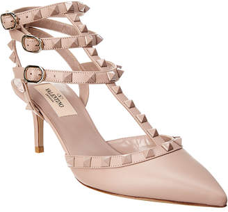 Valentino Cage Lacquer Rockstud 65 Leather Ankle Strap Pump