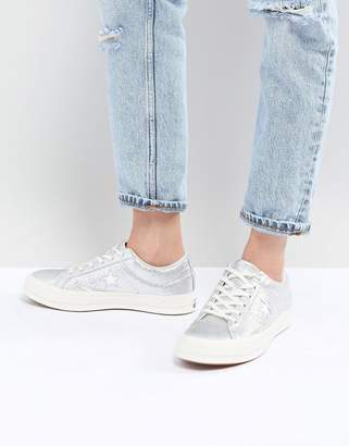 Converse One Star ox trainer in silver