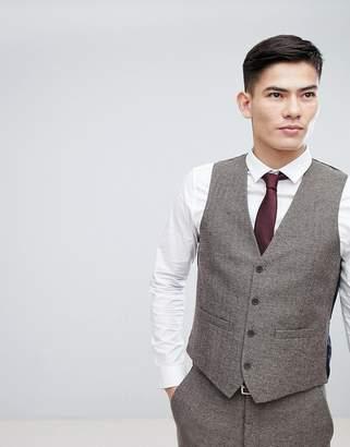 French Connection Semi Plain Donegal Slim Fit Vest
