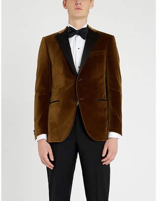 Corneliani Academy-fit peak-lapel cotton-velvet and satin jacket